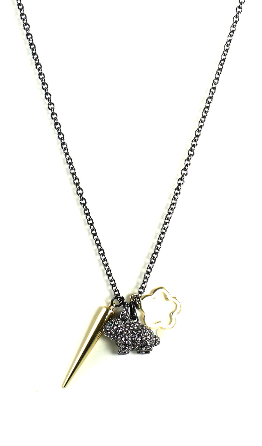 Juicy Couture Jewelry Black Silver Pave Bunny Necklace NWT ...